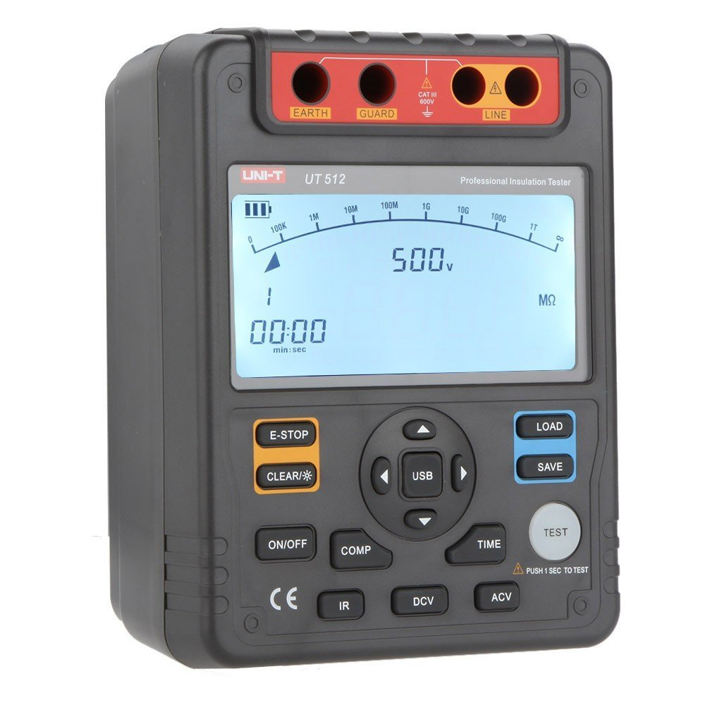 Smart Meter UNI-T UT512 Insulation Resistance Testers Voltmeter Auto Range 2500V 100GΩ