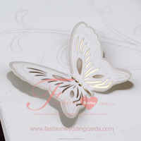 Luxurious Classic Butterfly Decoration Wooden Wedding Invitation Card
