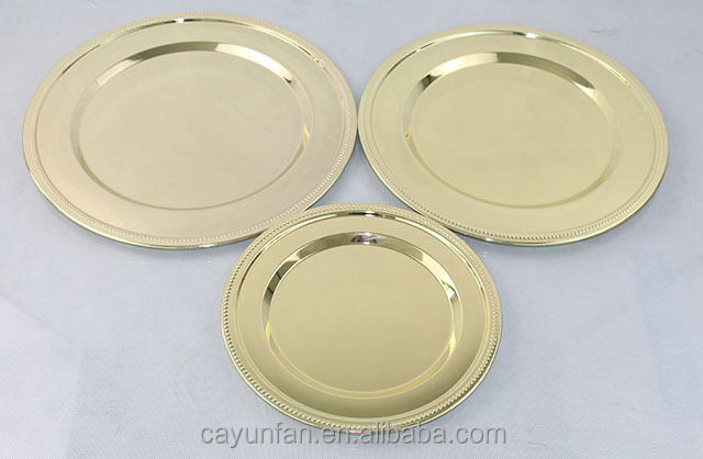 Hot Sale Stainless Steel Gold Dinner Plate Charger Plates