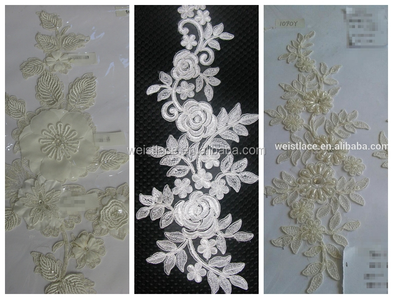 High quality tulle embroidery fabric with beads flower applique for