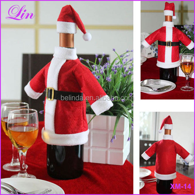 Cute Red Wine Bottle Cover Bags Santa Claus Dinner Table Decoration Clothes With Hats Home Party