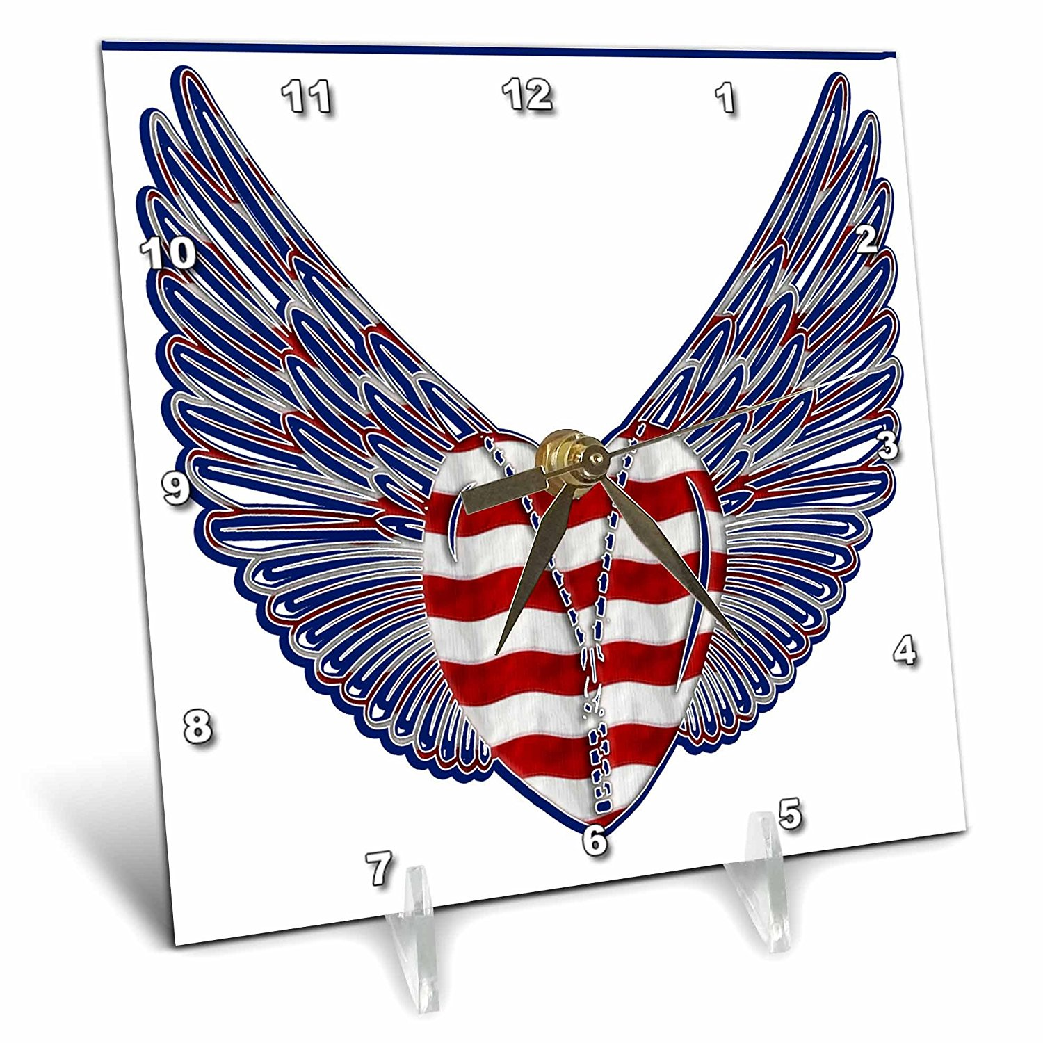 Anne Marie Baugh - Hearts - A Red and White Stripped Heart With A Zipper And Blue and Red Wings - 6x6 Desk Clock (dc_235928_1)