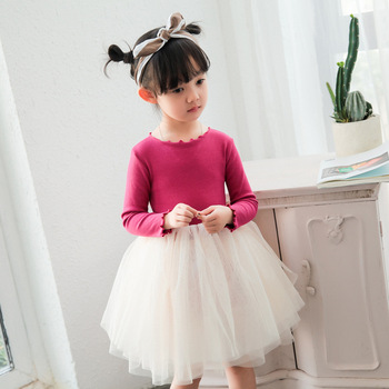 MS74992B Candy color girls new spring grid dress