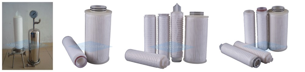 Absoluted 0.1  0.22 micron filter cartridge  20 inch china   PES pleated filter cartridge