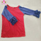 Ruffles royal blue sleeves and red body shirts size 2 baby raglan tee character kids boy tshirts