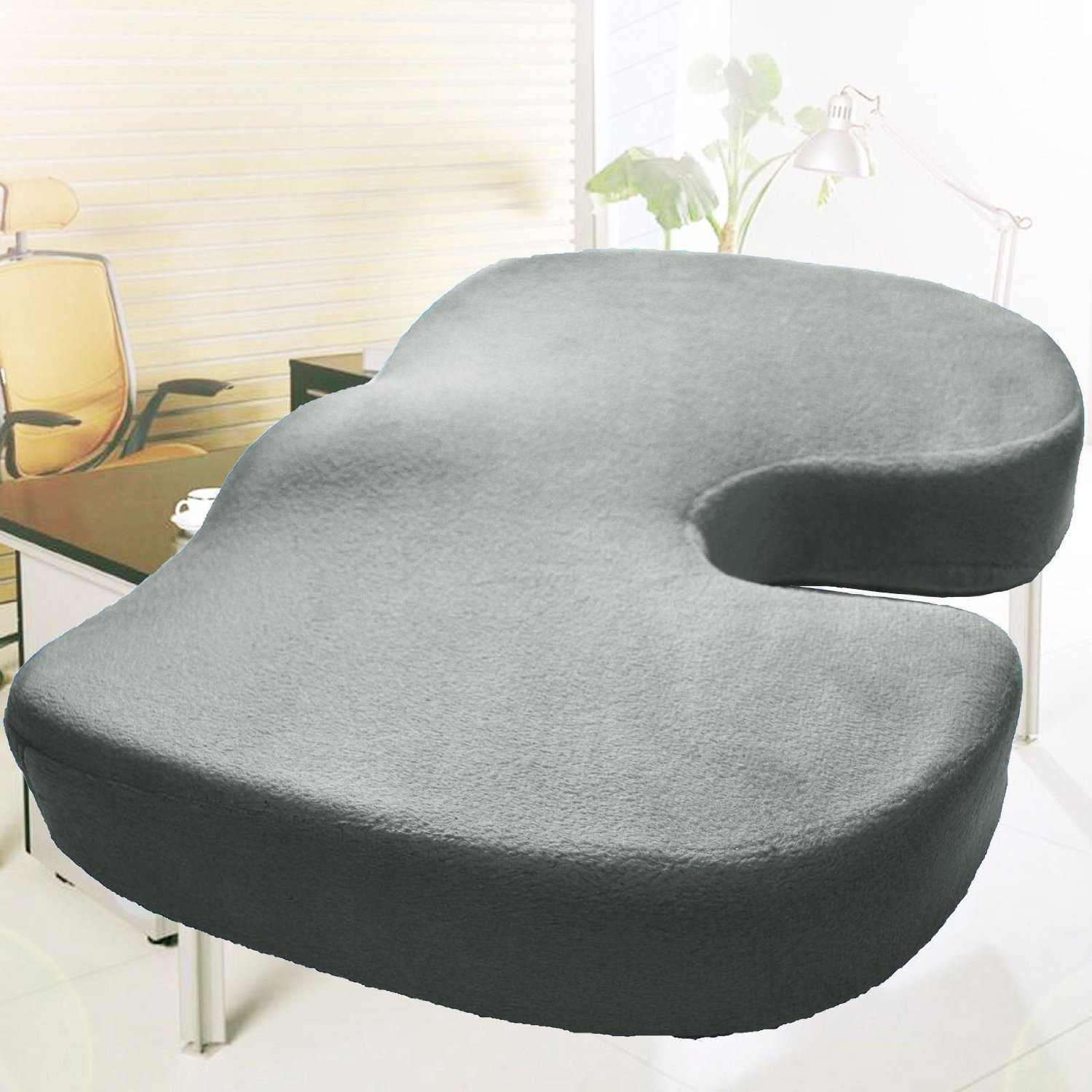 Memory Foam Coccyx Orthoped Car Seat Office Cushion Lumbar Pain Relief Pillow (Gray)