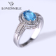 Sterling silver blue topaz ring wholesale gemstone jewelry