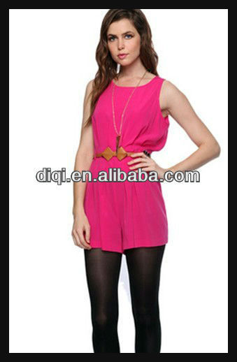 Fashional sleeveless waist with beltloop hit thigh dress summer plain color sleeveless dress women appreal