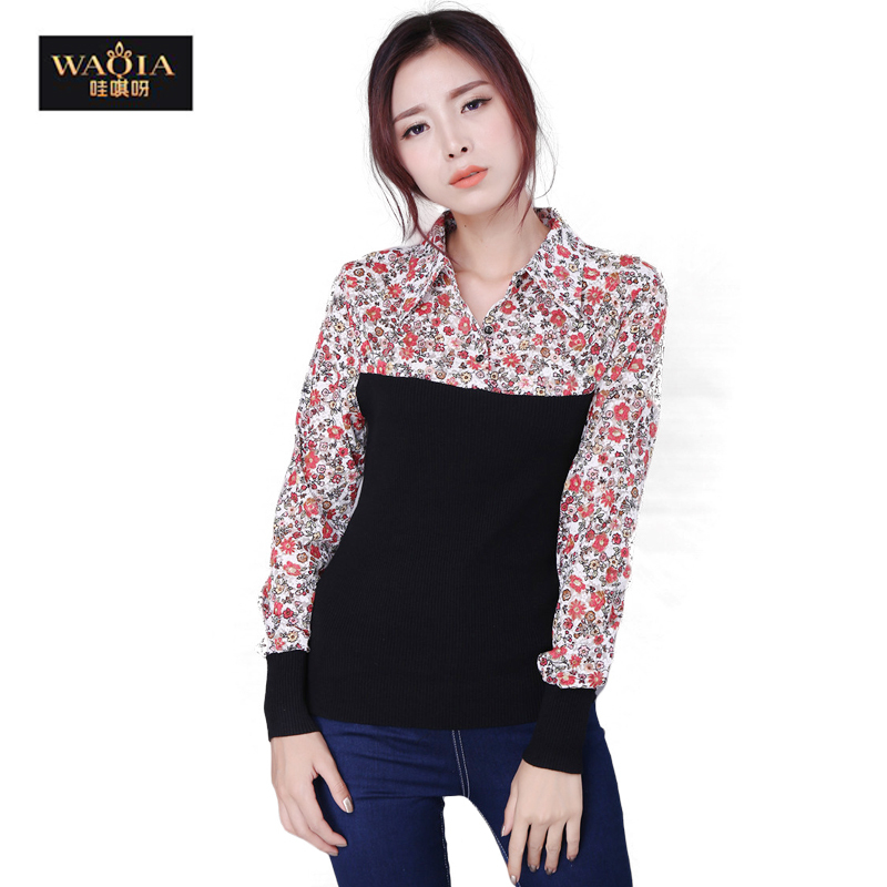 8ef43664 Get Quotations · 2015 New Autumn Winter Women Turn Down Collar Long Sleeve  Floral Patchwork Cotton Shirts Women Base