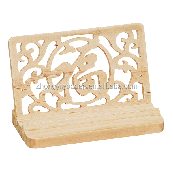 Natural handmade desktop decoration cute design wooden mobile phone stand holder