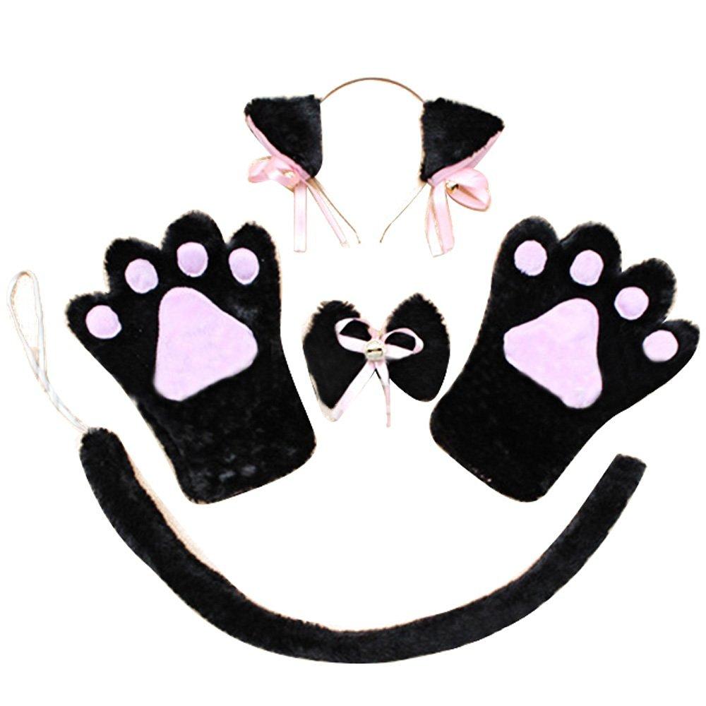 4 PCS Halloween Christmas Cosplay Costume Accessories Kit Plush Cat Ear Hair Headband Bow Tie Gloves Tail Set