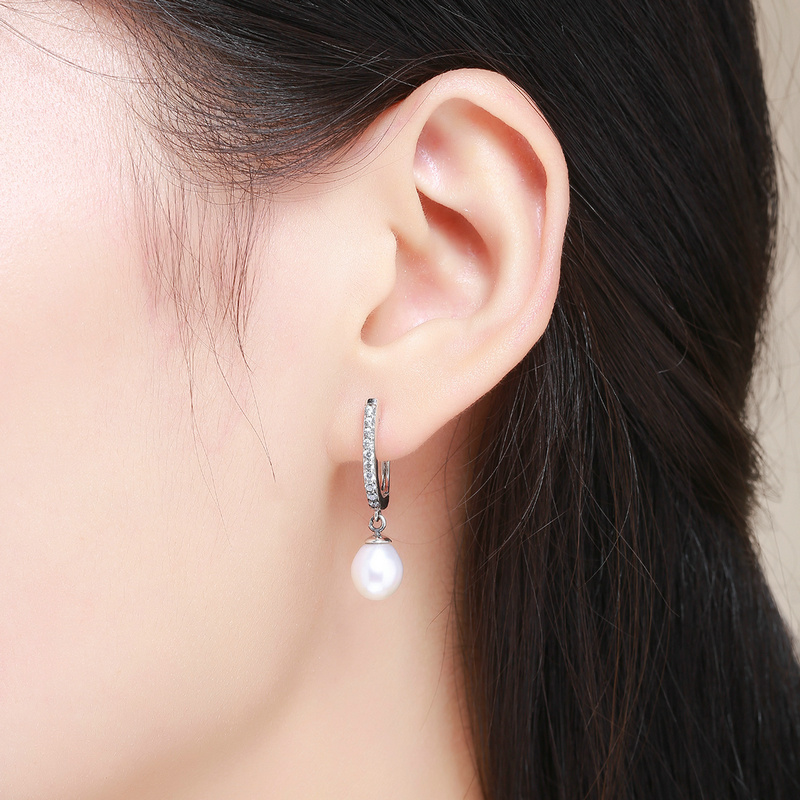 Authentic 925 <strong>Sterling</strong> <strong>Silver</strong> Fashion Elegant <strong>Drop</strong> Pearl <strong>Earrings</strong> Women