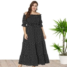 4XL 5XL 6XL off schulter <span class=keywords><strong>polka</strong></span> <span class=keywords><strong>dot</strong></span> Plus Größe Maxi Lange Sommer Casual Kleid Großhandel China