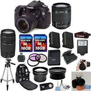 Canon EOS 70D Camera Body with Canon 18-55mm STM Standard Lens Celltime Exclusive Bundle with Canon 75-300mm III Zoom Lens + .43x Wide Angle Lens + 2.2x Telephoto Lens + Professional Hand Grip + Full Size Tripod + Extra High Capacity Battery + Extra AC/DC Rapid Charger + 2pcs 16GB Memory Cards +