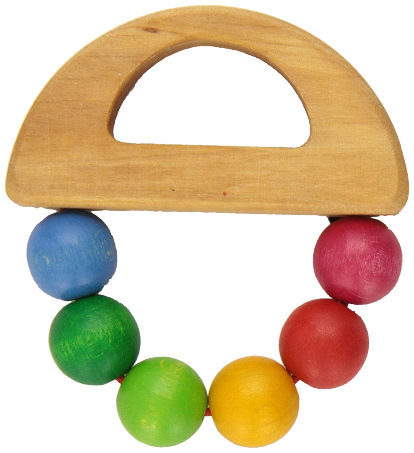 Handmade in Germany Wooden Baby Rattle Toy with Large Balls in Rainbow Colors Grimms Beads Grasper