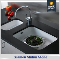 Shihui cheap glossy solid surface black galaxy quartz countertops for kitchen