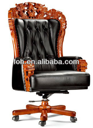 Antique Genuine Leather Chinese Dragon Executive Chair, Button Tufted King Chair, Carving Executive Chair ( FOHA-08# )