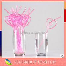 Disposable heart type plastic drinking straw