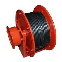 Motorized rail transport trolley cable reels powered