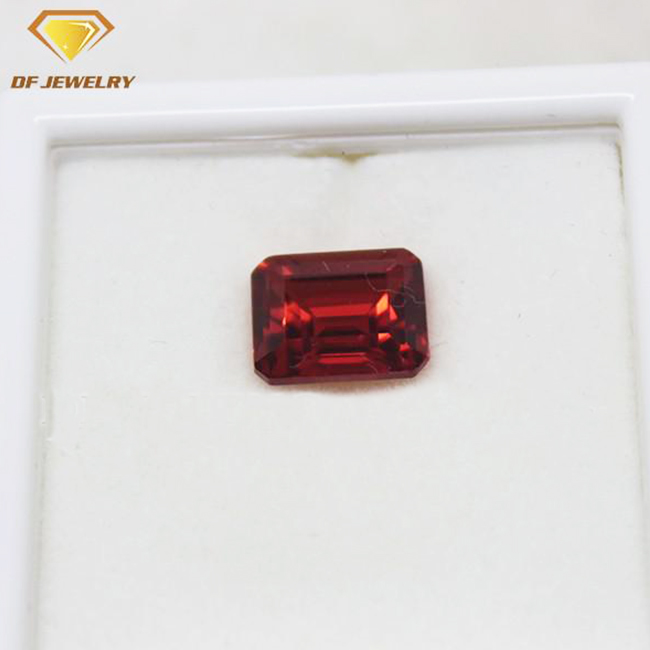 emerald cut synthetic padparadshah 55# corundum