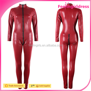 Fashion Red High Quality Sample Free Open Butt Long Sleeves Sexy Tight Leather Catsuit