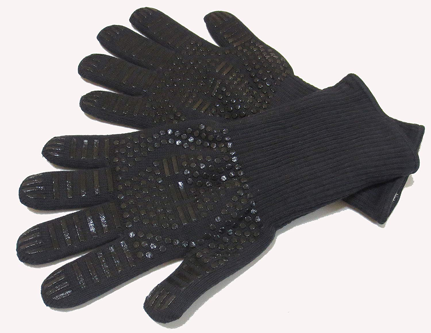 EFFi BBQ Gloves 932°F, Flexible Safe, Cotton Inside Oven Mitts for Cooking, Grilling, Baking, Extreme Heat Resistant, Best for Prevent Burns, Long Sleeve (14 Inch, XXL, Black) 1 Pair.