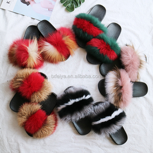 Wholesale Colorful Flip Flops Slippers Rubber Unisex Real Fur Slippers Slides