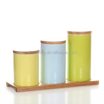550ml 800ml 1000ml Tea Sugar Coffee Ceramic Storage Jars Rubber Seal Wood  Lid