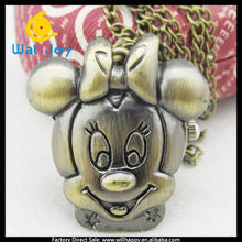sw-1110 bronze mickey face necklace durable anime pocket watch