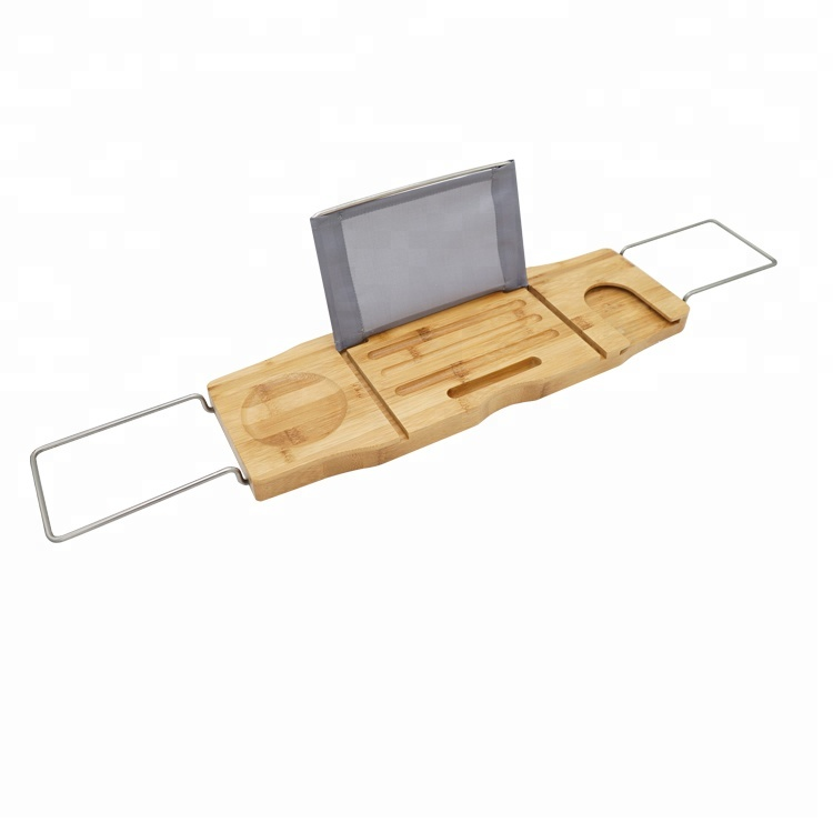 Bamboo Bathtub Caddy Tray Reading Rack Cellphone Tray And Wine Glass ...