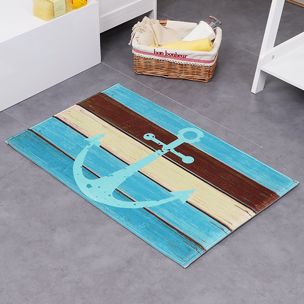 "HEBE Bath Rugs Anchor Flannel Bath Mats Bathroom Shower Rug Non-slip Soft Absorbent Bathroom Kitchen Floor Mat Carpet (16""W x 24""L)"