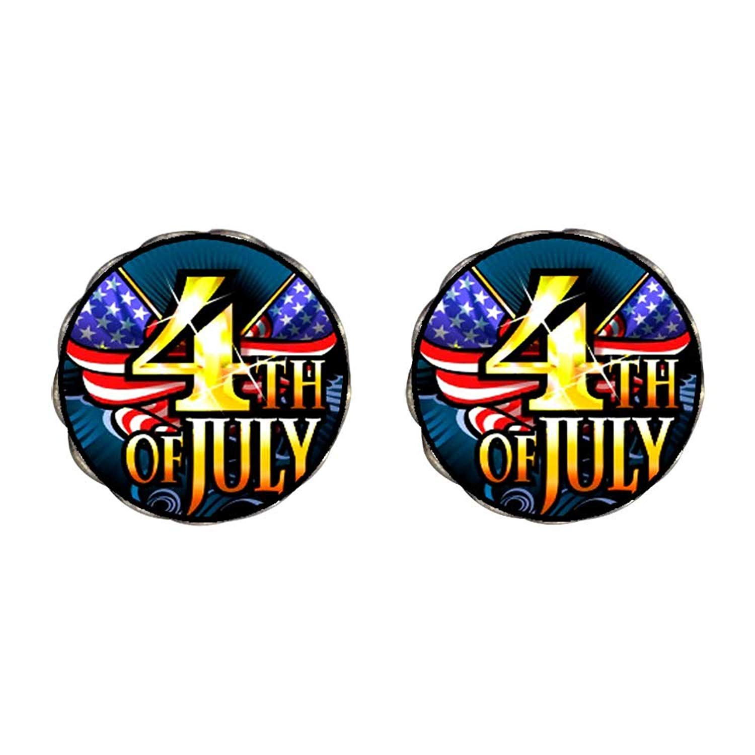 GiftJewelryShop Bronze Retro Style 4th of July Independence Day Clip On Earrings Flower Earrings #12