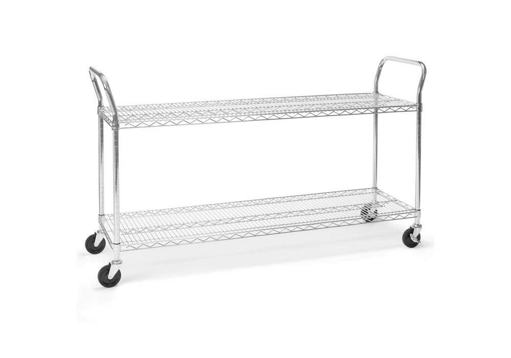 "Heavy Duty Mobile Cart 60""W x 18""D Chrome Dimensions: 60""W x 18""D x 37.75""H Weight: 45 lbs"