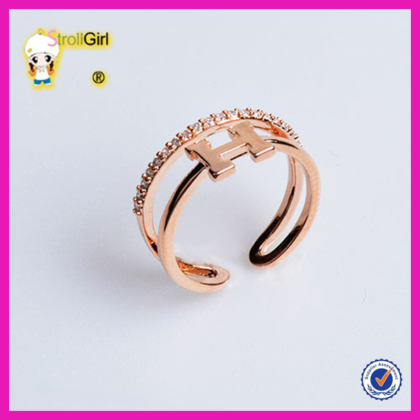 Fashionable Design 925 Sterling Silver Alphabet Letter Rings Gold