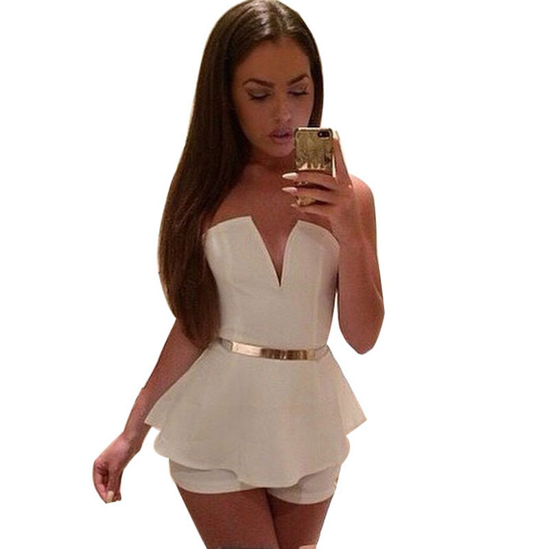 b74eceaaec9e Buy New 2015 White Solid Cut Open Back Sexy Club Lady Clubwear Jumpsuit   amp  Rompers Women Bodysuits Fashion Party Clothes With Strap in Cheap  Price on ...