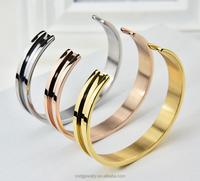China Jewelry Manufacturer Chengfen Jewelry Stainless Steel 14K Gold Steel Plain Cuff Bracelets Wholesale,Fashion Cuff Bangle