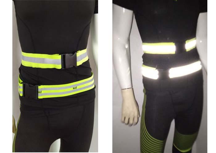 high visibility reflective waistbelt fluorescent elastic polyester fabric waist safety reflective belt band