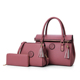 Bulk Supply Fashion Durable 3 Pieces PU Leather Tote Bag Women Lady leather Handbag lady Bag Set