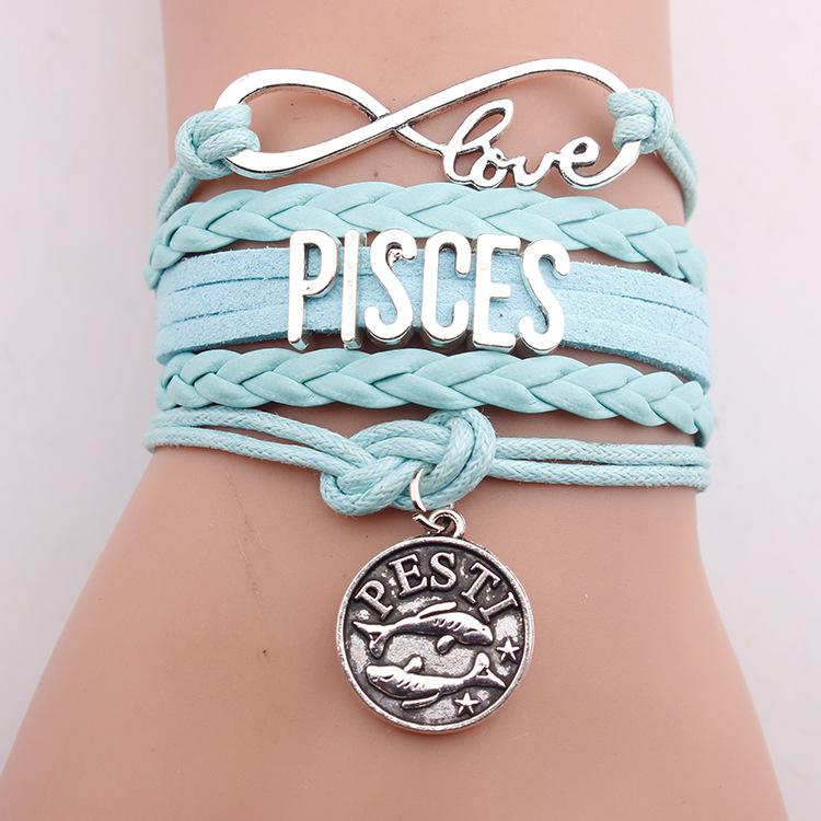 1fe8368a6688 12 Zodiaco horóscopo infinito amor Piscis pulsera pulseras de cuerda  pulsera de anime