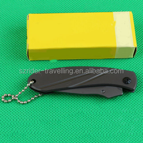 OEM yangjiang small titanium knife pocket folding key chain knife