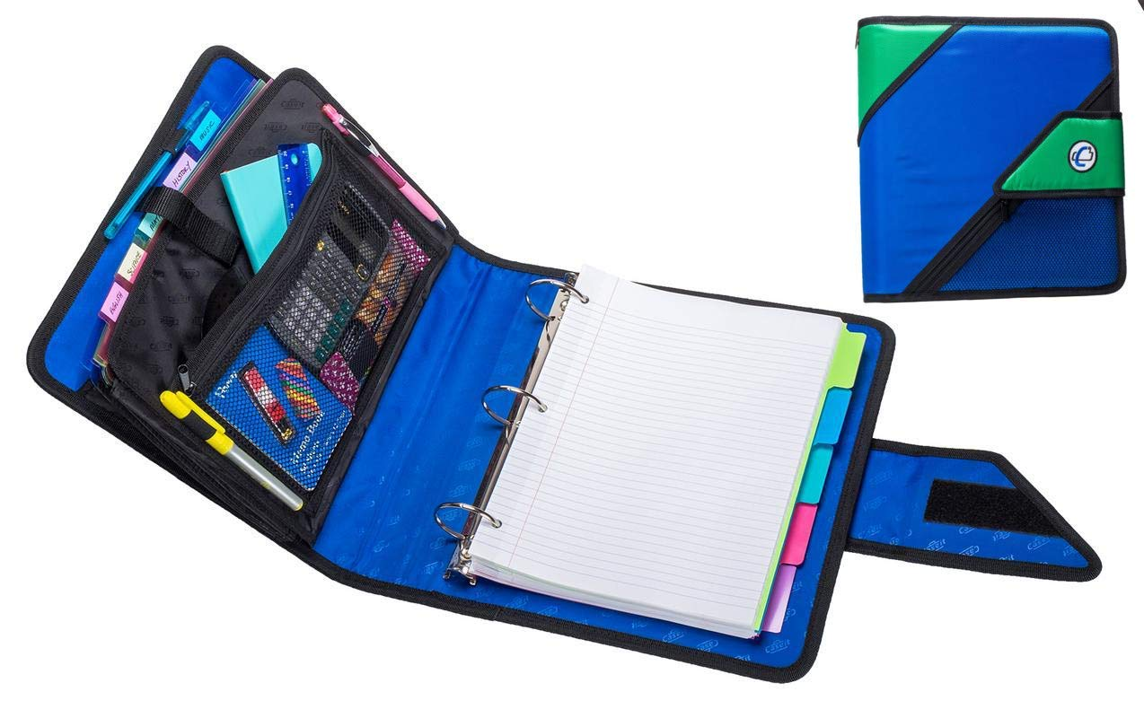 "Case-It The Open Tab, 2"" O-Ring Strap Binder W/Tab File, Blue, Features 3-Ring Strap Binder, 2 O-Ring, Inside Mesh Pockets, 5-Color Tabbed, 6-Pocket Expanding File Folder"