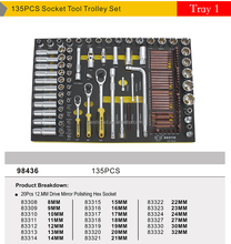 Tool Solution, Tool Super Market, Free Combination of EVA Foam Tray Sets to a Trolley 98436 135 Pcs Socket Set