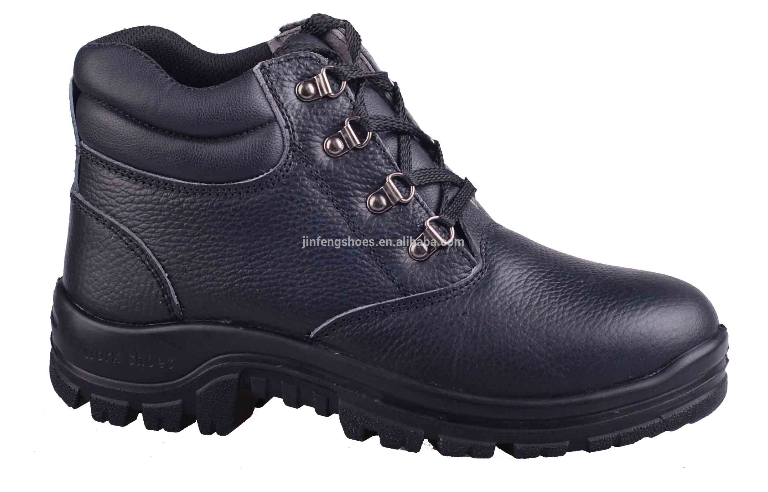 black action leather shoe jinfeng style protect steel toe