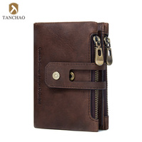 China Wholesale Rfid Blocking SIM Card Holder Flip Genuine Leather Wallet with Zipper