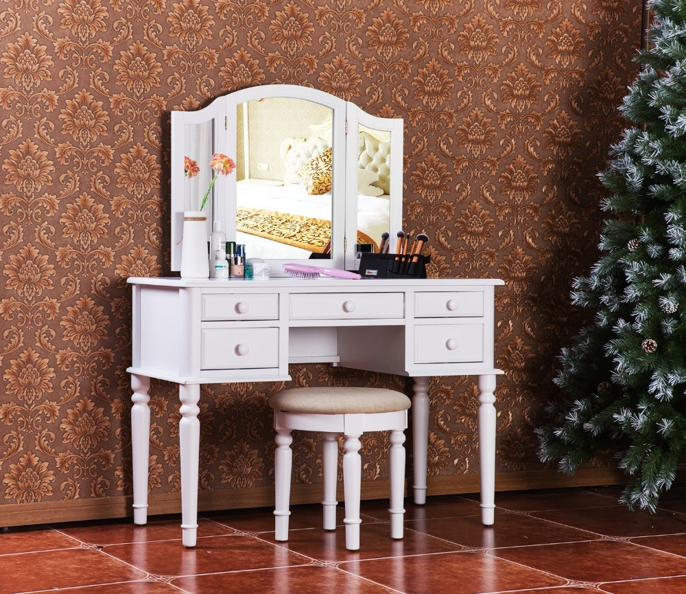 Bed room furniture bedroom set wooden dressing table with mirror and stool