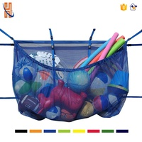 Pool Storage Pouch Black Adjustable Versatile Organizer Bag Pool Fence Deck Garage Gym 60INCH Pouch Floats Sports Balls