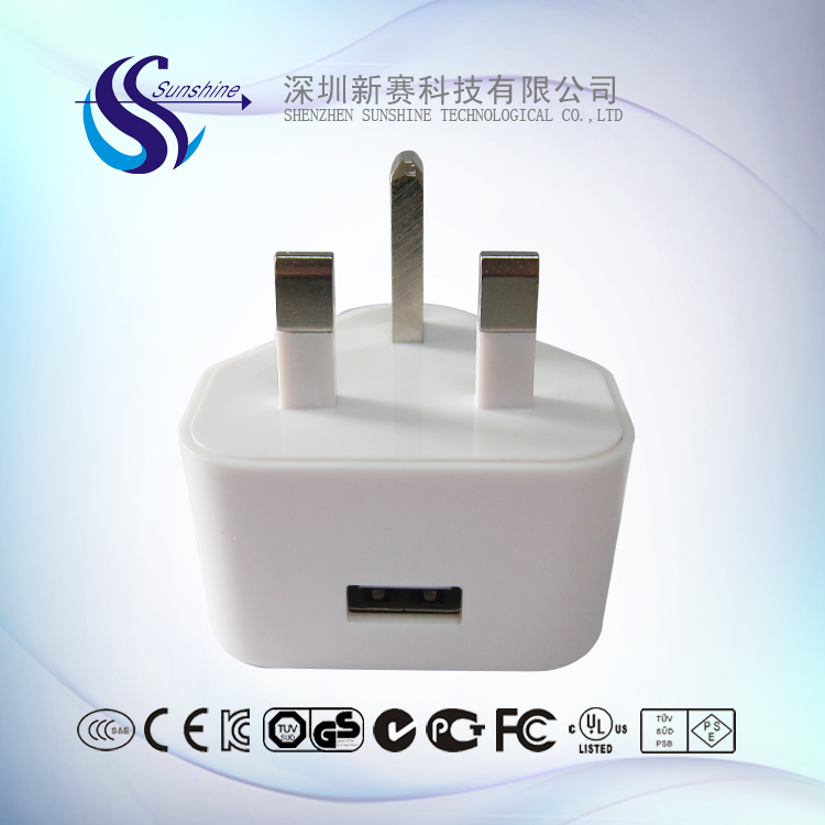 5V 1A single port uk plug 3 pin USB power adapter for electric shavers