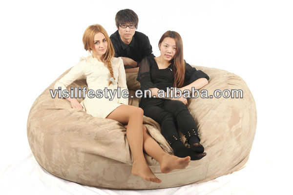 Comfortable 3 Seaters 7ft Sleeping Round Memory Foam Filled Bean Bag Chair  Love Sac