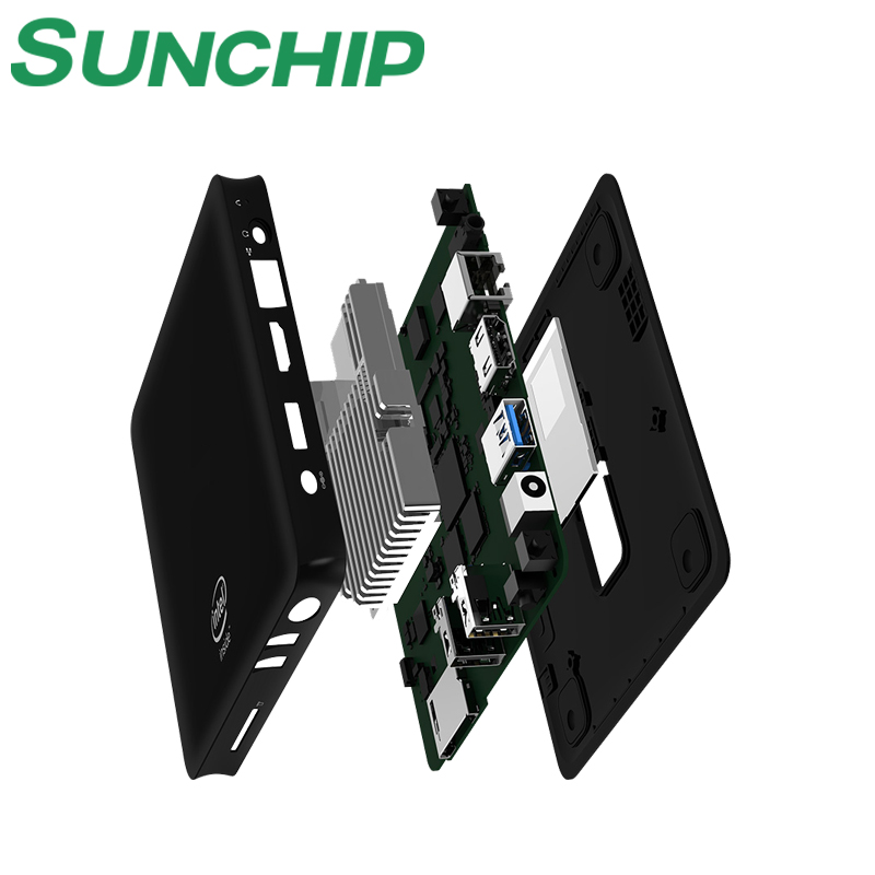 SUNCHIP Wintel BOX W10 Dual Intel Mini PC WIN10 CASA win10 pro ubuntu android 5.1 Quad Core 64Bit TV Box 2G/32G BT4.0 1000 M USB3