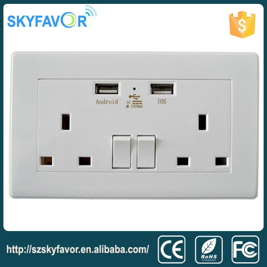 Universal multi smart usb wall socket with switch / 2 ways 2 plug switched socket